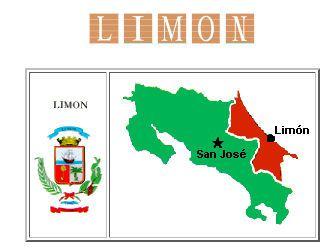 Mapa de Costa Rica y La Provincia de Limon Costa Rica